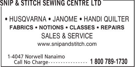 Ads Snip & Stitch Sewing Centre Ltd
