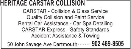 CARSTAR (902-469-8505) - Display Ad - CARSTAR - Collision & Glass Service Quality Collision and Paint Service Rental Car Assistance - Car Spa Detailing CARSTAR Express - Safety Standards Accident Assistance & Towing