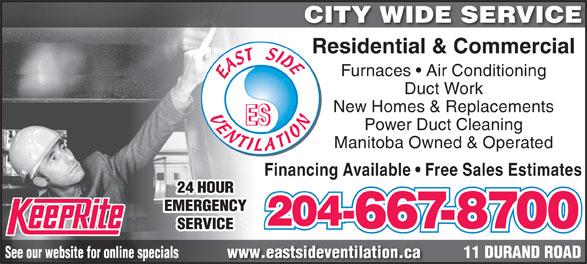 East Side Ventilation (204-667-8700) - Annonce illustrée======= -