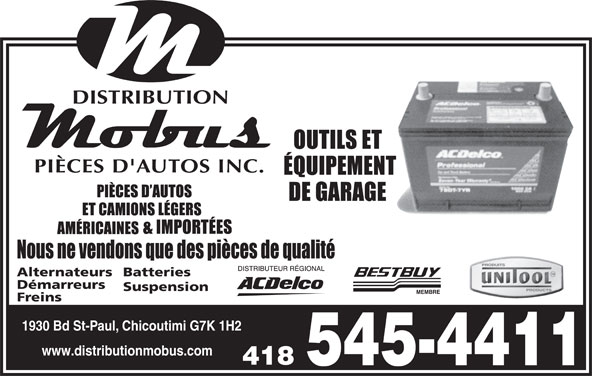Distribution Mobus Inc (418-545-4411) - Display Ad -