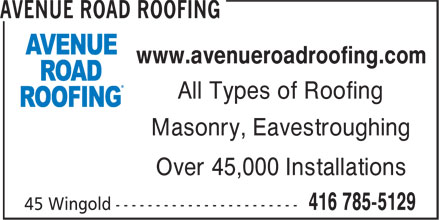 Avenue Road Roofing (416-785-5129) - Annonce illustrée======= - www.avenueroadroofing.com All Types of Roofing Masonry, Eavestroughing Over 45,000 Installations