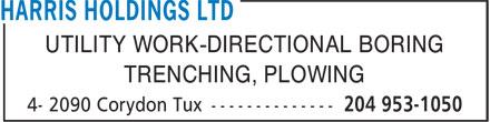 Harris Holdings Ltd (204-953-1050) - Annonce illustrée======= -