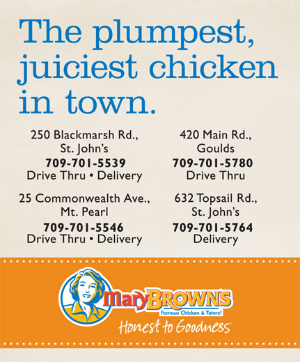 Mary Brown's (709-364-9233) - Annonce illustrée======= -