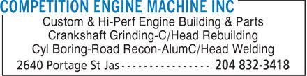 Competition Engine Machine Inc (204-832-3418) - Annonce illustrée======= - Custom & Hi-Perf Engine Building & Parts Crankshaft Grinding-C/Head Rebuilding Cyl Boring-Road Recon-AlumC/Head Welding