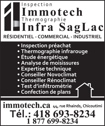 Inspection Immotech (418-693-8234) - Display Ad -