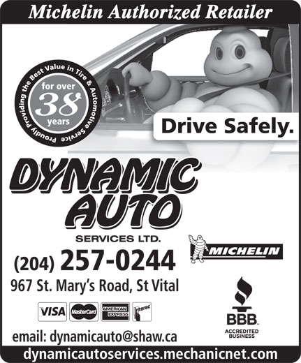Dynamic Auto Services Ltd-Authorized Michelin Retailer (204-257-0244) - Annonce illustrée======= -
