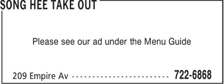 Song Hee Take Out (709-722-6868) - Display Ad - Please see our ad under the Menu Guide