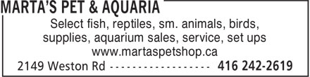 Marta's Pet & Aquaria (416-242-2619) - Display Ad - Select fish, reptiles, sm. animals, birds, supplies, aquarium sales, service, set ups www.martaspetshop.ca Select fish, reptiles, sm. animals, birds, supplies, aquarium sales, service, set ups www.martaspetshop.ca