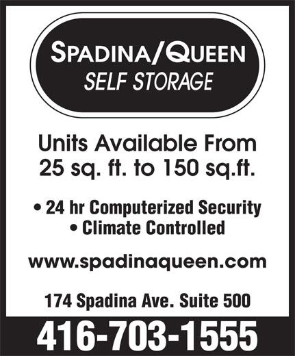 Spadina-Queen Self Storage Ltd (416-703-1555) - Display Ad -