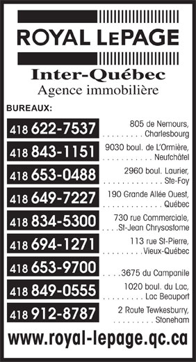 Royal LePage Inter-Québec Courtiers (418-622-7537) - Display Ad -