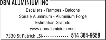 DBM Aluminium et Fer Ornemental (514-364-9658) - Annonce illustrée======= - Escaliers - Rampes - Balcons Spirale Aluminium - Aluminium Forgé Estimation Gratuite www.dbmaluminium.com Escaliers - Rampes - Balcons Spirale Aluminium - Aluminium Forgé Estimation Gratuite www.dbmaluminium.com