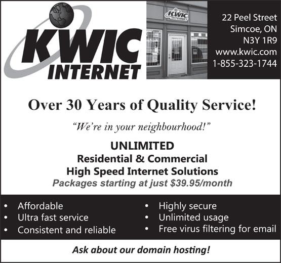 KWIC Internet (519-428-4650) - Annonce illustrée======= - 1-855-323-1744
