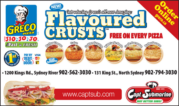 Greco Pizza (902-310-3030) - Display Ad - CRUSTS www.captsub.com OnlineOrder CRUSTS