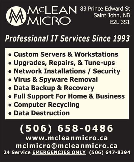 Mclean Micro (506-658-0486) - Display Ad -