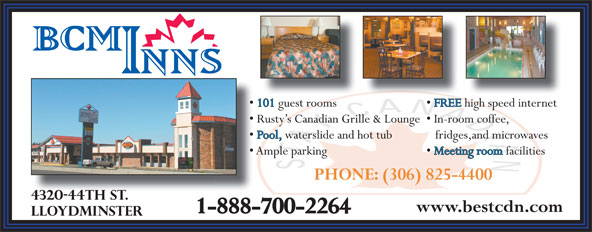 Best Canadian Motor Inn (306-825-4400) - Annonce illustrée======= - PHONE: (306) 825-4400 1-888-700-2264