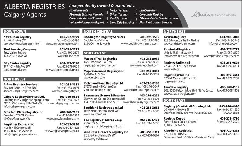 Alberta Registries - Calgary Agents (403-244-4487) - Annonce illustrée======= -