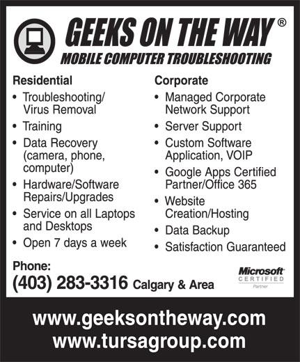 Geeks On The Way (403-283-3316) - Annonce illustrée======= -