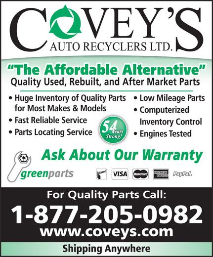 Covey's Auto Recyclers Ltd (1-866-821-7688) - Annonce illustrée======= - 1-877-205-0982