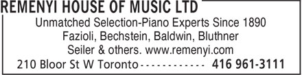 Remenyi House Of Music (416-961-3111) - Annonce illustrée======= - Seiler & others. www.remenyi.com Unmatched Selection-Piano Experts Since 1890 Fazioli, Bechstein, Baldwin, Bluthner