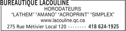 """Neopost Canada Ltée (418-624-1925) - Annonce illustrée======= - HORODATEURS """"LATHEM"""" """"AMANO"""" """"ACROPRINT"""" """"SIMPLEX"""" www.lacouline.qc.ca"""