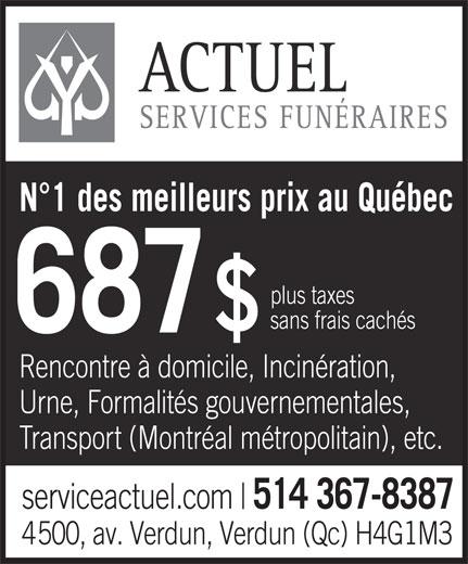 Services Funéraires Actuel (514-367-8387) - Annonce illustrée======= -