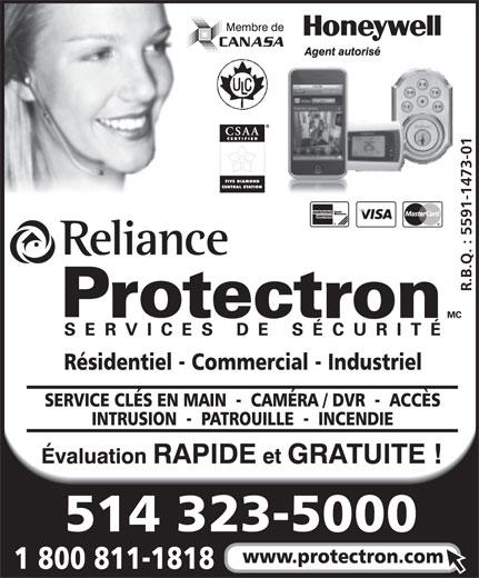 Protectron Services De Sécurité (514-323-5000) - Annonce illustrée======= -