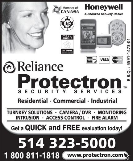 Alarme Protectron (514-323-5000) - Display Ad -