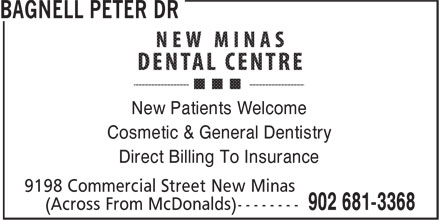 Dr Peter Bagnell (902-681-3368) - Display Ad - New Patients Welcome Cosmetic & General Dentistry Direct Billing To Insurance