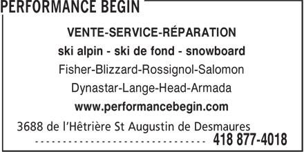 Performance Bégin (418-877-4018) - Annonce illustrée======= - VENTE-SERVICE-RÉPARATION ski alpin - ski de fond - snowboard Fisher-Blizzard-Rossignol-Salomon Dynastar-Lange-Head-Armada www.performancebegin.com