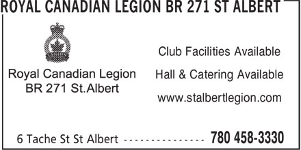 Royal Canadian Legion (780-458-3330) - Display Ad - Hall & Catering Available Club Facilities Available www.stalbertlegion.com