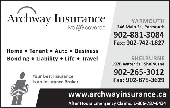 Archway Insurance-Yarmouth (902-742-4646) - Annonce illustrée======= -