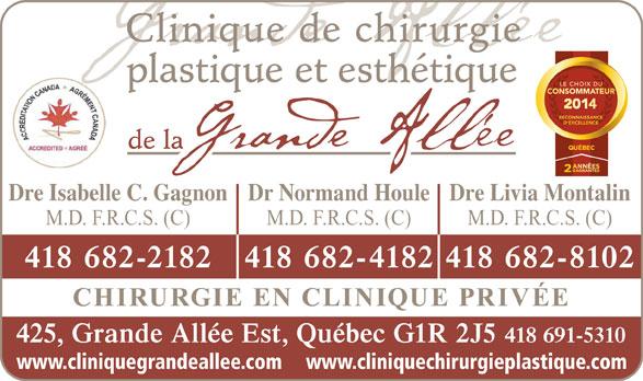 Clinique De Chirurgie Plastique Et Esthétique De La Grande Allée (418-691-5310) - Annonce illustrée======= -