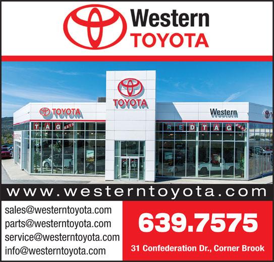 Western Toyota (709-639-7575) - Display Ad - www.westerntoyota.com 639.7575 31 Confederation Dr., Corner Brook www.westerntoyota.com 639.7575 31 Confederation Dr., Corner Brook