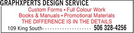 GraphXperts Design Service (506-328-4256) - Annonce illustrée======= -