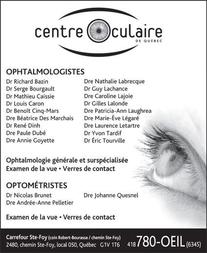 Centre Oculaire de Québec (418-780-6345) - Display Ad -