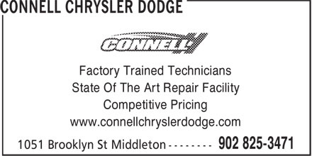 Connell Chrysler Dodge (902-825-3471) - Annonce illustrée======= - Factory Trained Technicians State Of The Art Repair Facility Competitive Pricing www.connellchryslerdodge.com