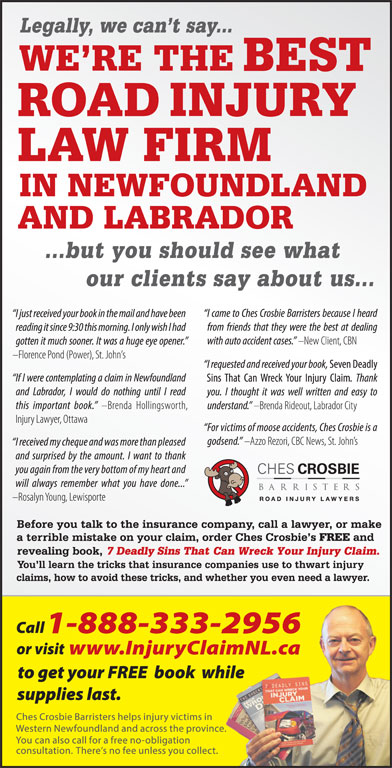 Ches Crosbie Barristers (1-877-929-3785) - Display Ad -