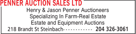 Penner Auction Sales Ltd (204-326-3061) - Display Ad - Henry & Jason Penner Auctioneers Specializing In Farm-Real Estate Estate and Equipment Auctions