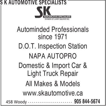 S K Automotive Specialists (905-844-5674) - Annonce illustrée======= -