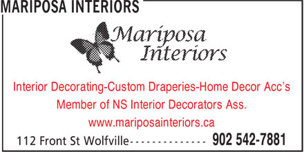 Mariposa Interiors (902-542-7881) - Display Ad -