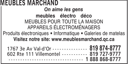 Meubles Marchand (819-874-8777) - Display Ad -