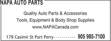 NAPA Auto Parts (905-985-7100) - Annonce illustrée======= - Quality Auto Parts & Accessories Tools, Equipment & Body Shop Supplies www.NAPACanada.com