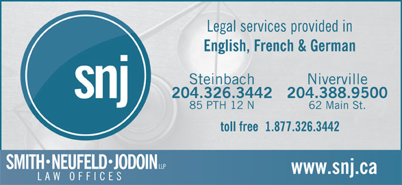 Smith Neufeld Jodoin LLP (204-326-3442) - Display Ad -