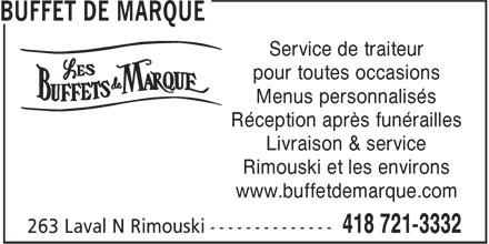 Buffet de Marque (418-721-3332) - Annonce illustrée======= -