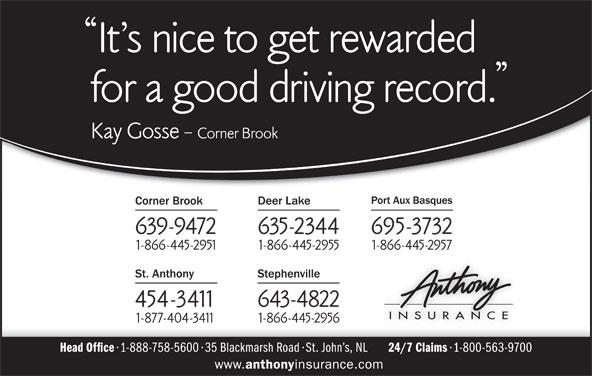 Anthony Insurance (709-639-9472) - Display Ad -