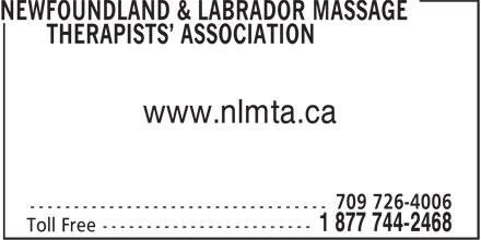 Newfoundland & Labrador Massage Therapists' Asso ciation (1-877-442-2468) - Annonce illustrée======= - www.nlmta.ca www.nlmta.ca
