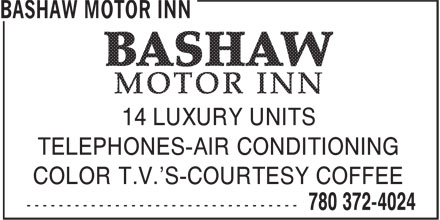 Bashaw Motor Inn (780-372-4024) - Annonce illustrée======= - 14 LUXURY UNITS TELEPHONES-AIR CONDITIONING COLOR T.V.'S-COURTESY COFFEE