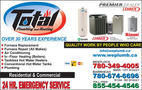Total Plumbing & Heating (780-349-4005) - Display Ad - Plumbing Heating and WESTLOCK 9855 -107 Street 5124 - 50 Street toll free BARRHEAD