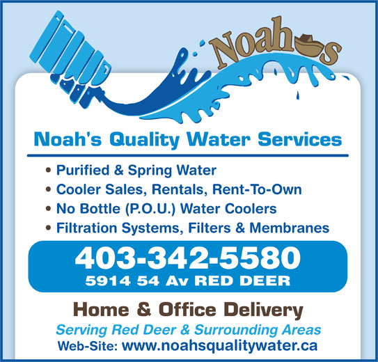 Noah S Quality Water Opening Hours 5914 54 Ave Red