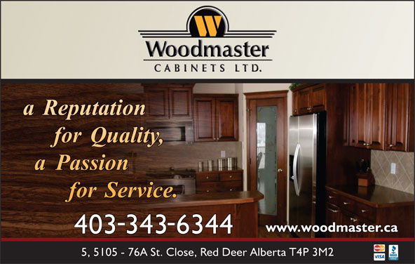 Woodmaster Cabinets (403-343-6344) - Annonce illustrée======= -